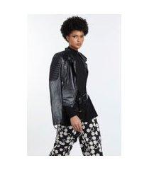 blusa de tricot gola alta e manga longa detalhe costas preto/off white