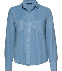 shirts/blouses long sleeve långärmad skjorta blå marc o'polo