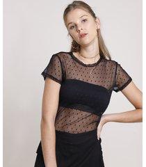 blusa feminina em tule estampado de poá manga curta decote redondo preta