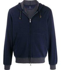 brunello cucinelli two tone zip-front hoodie - blue