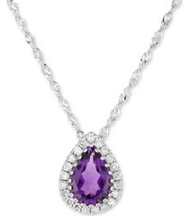"amethyst (5/8 ct. t.w.) & diamond accent teardrop 18"" pendant necklace in 14k white gold"