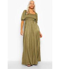 geplooide maxi jurk met 3/4 mouwen, khaki