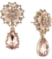 marchesa gold-tone crystal & imitation pearl flower drop earrings