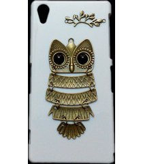 cute retro bronze metal owl branch hard back skin case cover for sony xperia z2