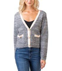 belldini women's black label v-neck button down sweater with pockets
