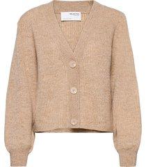 slflipa ls knit short cardigan b stickad tröja cardigan beige selected femme
