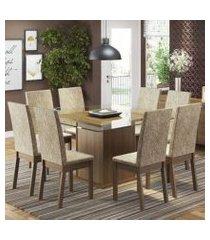 conjunto sala de jantar madesa milene mesa tampo de vidro com 8 cadeiras rustic/imperial