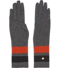 burberry monogram-motif striped gloves - grey