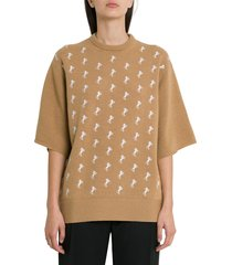 chloé smal horses embroideries wool tee