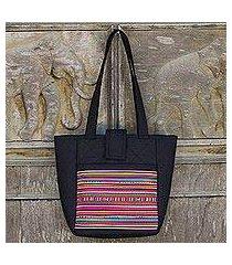 cotton shoulder bag, 'lisu realm in black' (thailand)