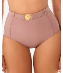 skinny dippers simba pin up belted medallion tummy control bottom women's swimsuit