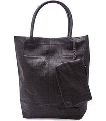 bolso textura con cosmetiquera color negro, talla uni