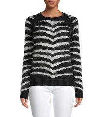 redvalentino women's striped wool-blend sweater - nero avorio - size s