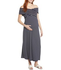 women's maternal america crisscross off the shoulder maxi maternity dress, size medium - blue