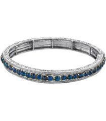 2028 silver-tone sapphire blue color crystal stretch bracelet