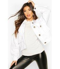mock horn button boxy oversized jean jacket, white