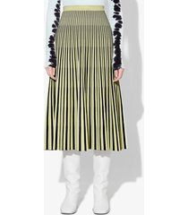 proenza schouler striped jacquard knit skirt black/faded neon yellow xs