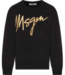 black sweatshirt for girl with gold logo