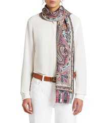 women's etro paisley cashmere & silk scarf, size one size - black