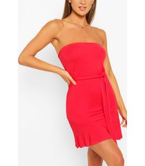 bandeau frill mini dress, red