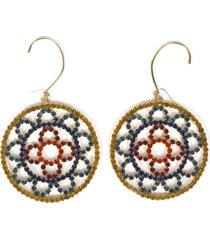 area multicoloured crystal crochet earrings