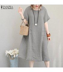 zanzea partido de las mujeres vestido de tirantes de algodón de verano oficina de trabajo de la llamarada suelta más el tamaño de vestido de midi -gris claro