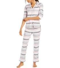 ellen tracy printed fleece pajamas set