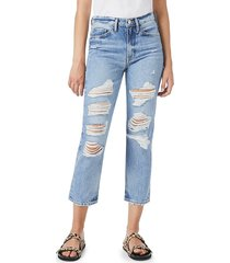 frame women's le piper high-rise distressed jeans - blue sky - size 27 (4)