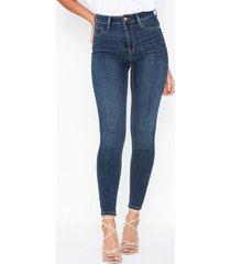 gina tricot molly high waist jeans skinny mörk blå