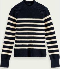 scotch & soda knitted cotton breton sweater