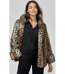 fuskpäls smoothie jacket, leopardmönstrad