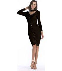 vestido de punto de manga larga con cuentas de otoño invierno vestido mujer