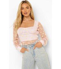 mesh bloemen crop top met volle mouwen, light pink