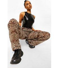 chiffon luipaardprint broek met hoge taille wide leg, brown