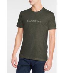 camiseta masculina slim flamê verde escuro calvin klein - pp