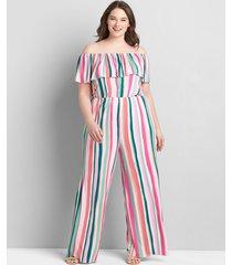 lane bryant women's multi-way off-the-shoulder jumpsuit 34/36 spring stripes
