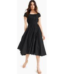 inc international concepts cotton smocked-waist midi dress, created for macy's