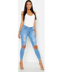 high waisted distressed skinny jeans, light blue