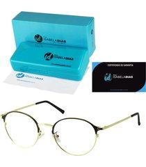 armação óculos de grau isabela dias redondo retrô preto 6330