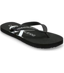 beach sandal monogram tpu shoes summer shoes flip flops svart calvin klein
