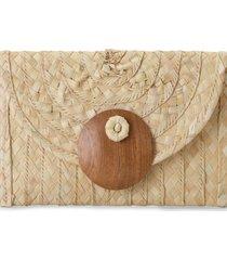 clutch amaro palha detalhe madeira natural - bege - feminino - dafiti