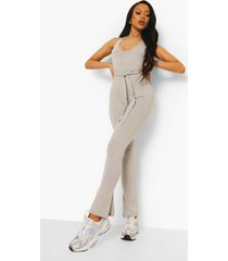 unitard jumpsuit met split, grey