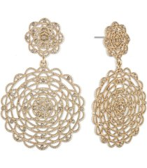 marchesa gold-tone pave lace statement earrings