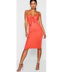 skinny strap tie front midi dress, orange