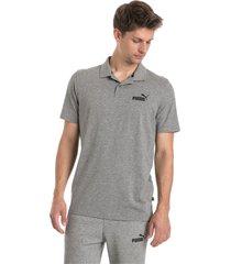 essential - jersey poloshirt voor heren, grijs/heide, maat xs   puma