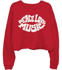 junk food cotton peace love music-graphic cropped raw-edge sweatshirt