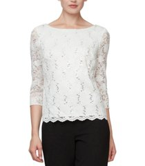 alex evenings sequinned lace cowl-back top