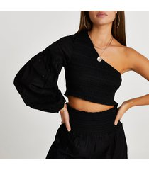 river island womens black embroidered one shoulder beach top