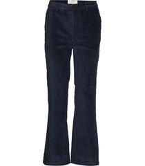 corduroy trousers utsvängda byxor blå just female