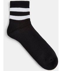 mens black with white stripe short tube socks